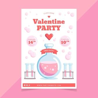 Plantilla de cartel de fiesta de san valentín en diseño plano