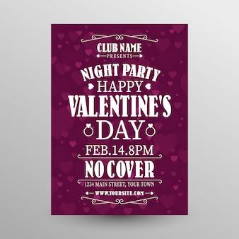 Plantilla de cartel de fiesta de san valentín plana