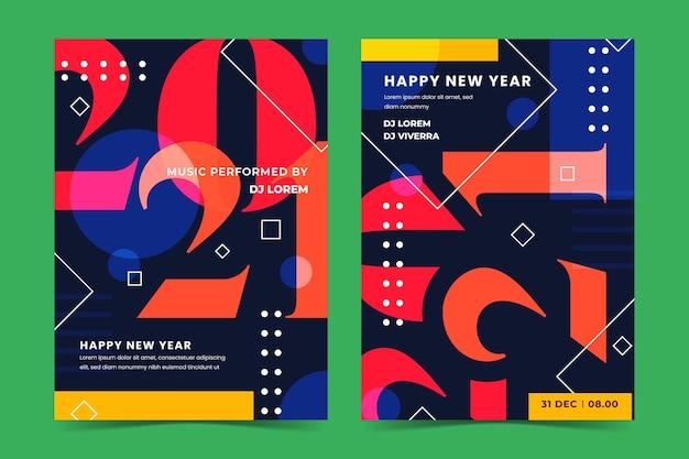 Plantilla de cartel de fiesta tipográfico abstracto año nuevo 2021