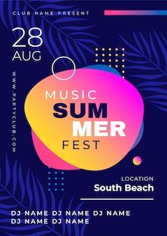 Plantilla de cartel de fiesta tropical con festival de verano
