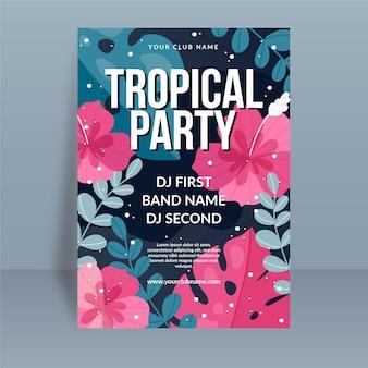Plantilla de cartel de fiesta tropical con flores y hojas