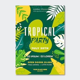 Plantilla de cartel de fiesta tropical con follaje