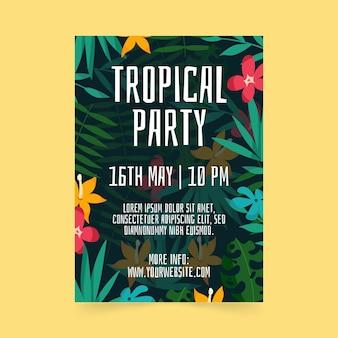 Plantilla de cartel de fiesta tropical con hojas y flores.