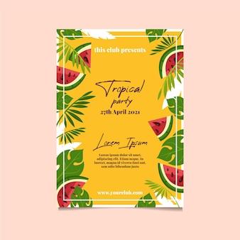 Plantilla de cartel de fiesta tropical con hojas y sandía