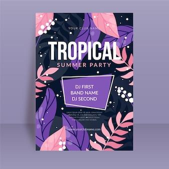 Plantilla de cartel de fiesta tropical con hojas