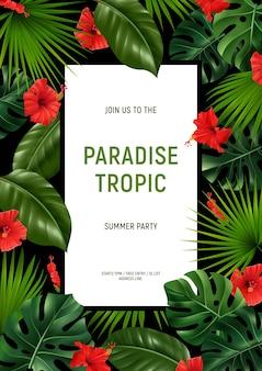 Plantilla de cartel de fiesta tropical paraíso realista