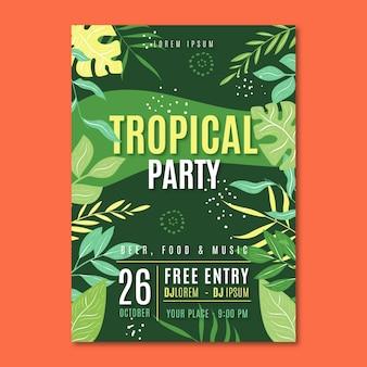Plantilla de cartel de fiesta tropical con vegetación