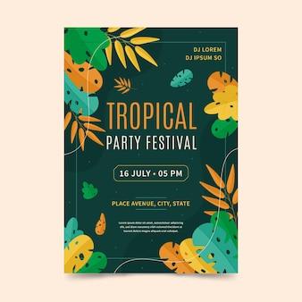 Plantilla de cartel de fiesta tropical