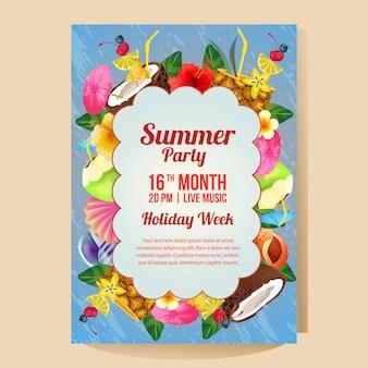 Plantilla de cartel de fiesta de vacaciones de verano con ilustración vectorial bebida colorida