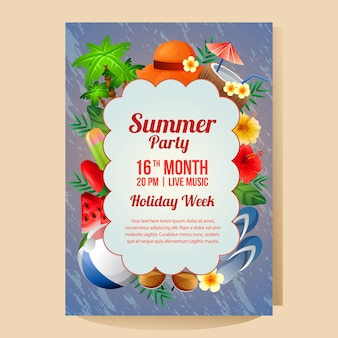 Plantilla de cartel fiesta de vacaciones de verano con objeto colorido ilustración de vector de temporada de verano