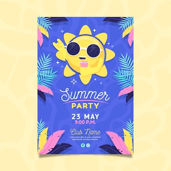 Plantilla de cartel de fiesta de verano de diseño plano