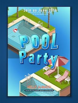 Plantilla de cartel de fiesta de verano. fiesta en la piscina con piscinas isométricas