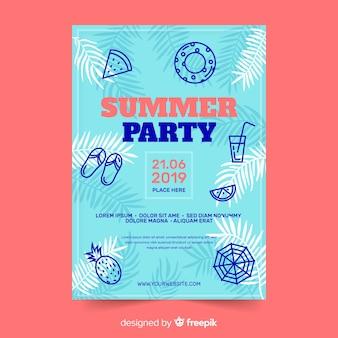Plantilla de cartel de fiesta de verano plana