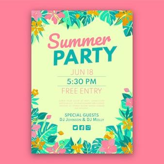Plantilla de cartel de fiesta de verano plano orgánico
