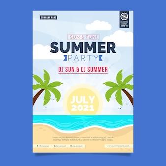 Plantilla de cartel de fiesta de verano plano vertical