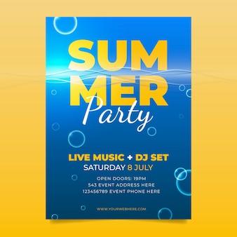 Plantilla de cartel de fiesta de verano realista