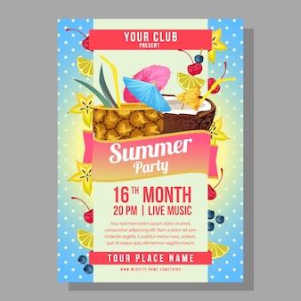 Plantilla de cartel fiesta de verano vacaciones con ilustración de vector de bebida cóctel