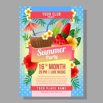 Plantilla de cartel fiesta de verano vacaciones con ilustración de vector de bebida de verano