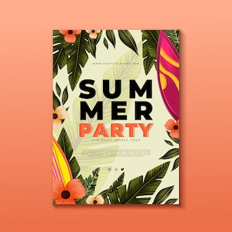 Plantilla de cartel de fiesta de verano vertical acuarela pintada a mano