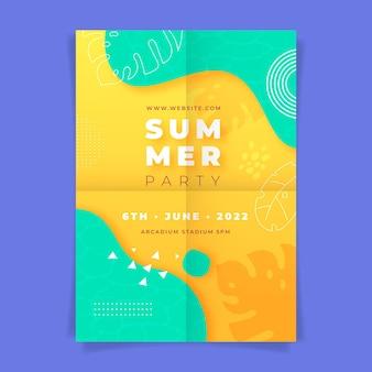 Plantilla de cartel de fiesta de verano vertical dibujada a mano