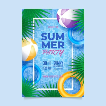 Plantilla de cartel de fiesta de verano vertical realista