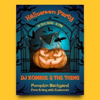 Plantilla de cartel de fiesta vertical de halloween dibujada a mano