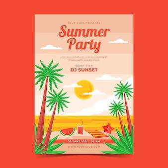 Plantilla de cartel de fiesta vertical de verano plano orgánico
