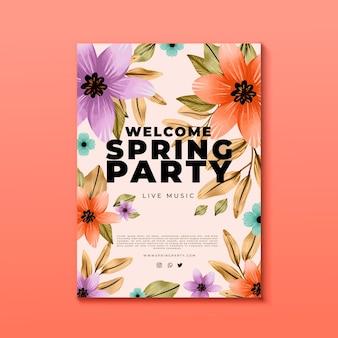 Plantilla de cartel floral de fiesta de primavera en acuarela