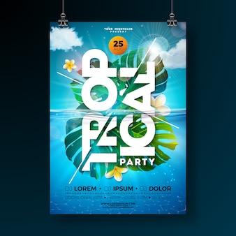 Plantilla de cartel de flyer fiesta de verano tropical con hojas de palmeras exóticas y flores