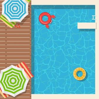 Plantilla de cartel de fondo de verano con piscina y aro salvavidas.