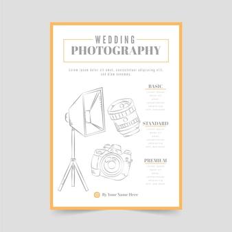 Plantilla de cartel de fotografía de boda