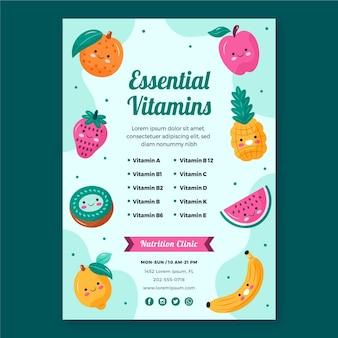 Plantilla de cartel de frutas frescas