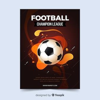 Plantilla de cartel de fútbol efecto líquido.