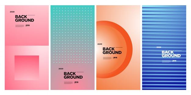 Plantilla de cartel geométrico colorido abstracto de moda