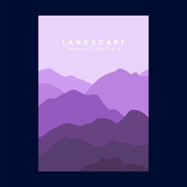 Plantilla de cartel de gradiente de paisaje colorido