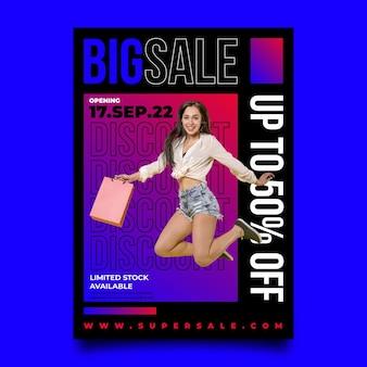 Plantilla de cartel de gran venta de diseño plano