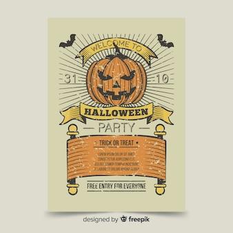 Plantilla de cartel de halloween de calabaza enojado