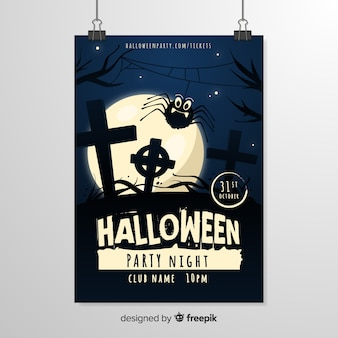 Plantilla de cartel de halloween de noche de cementerio