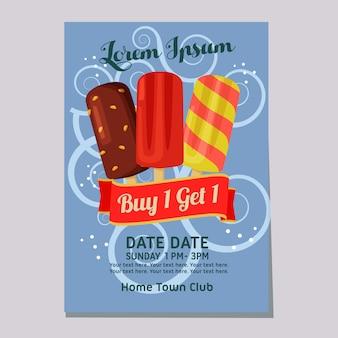 Plantilla de cartel de helado helado semana justo