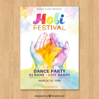 Plantilla de cartel para el holi festival con manos