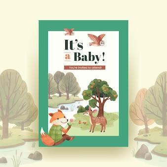 Plantilla de cartel con ilustración acuarela de concepto de animales felices