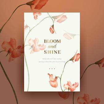 Plantilla de cartel con ilustración de acuarela de concepto brillante de primavera