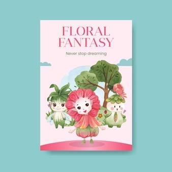 Plantilla de cartel con ilustración de acuarela de concepto de carácter floral