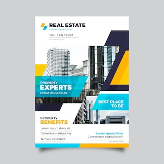 Plantilla de cartel de inmobiliaria plana con foto