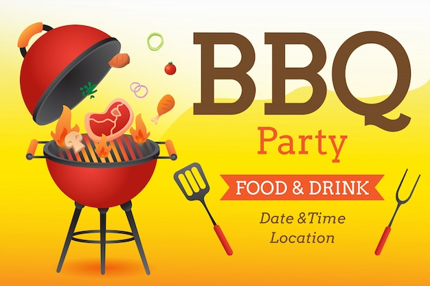 Plantilla de cartel de invitación de fiesta de barbacoa con parrilla y comida flyer vector ilustración de estilo plano.