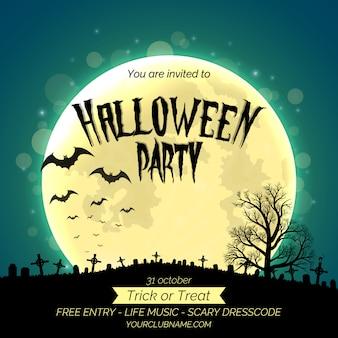 Plantilla de cartel de invitación de fiesta de halloween con bosque oscuro, cementerio y lugar para texto