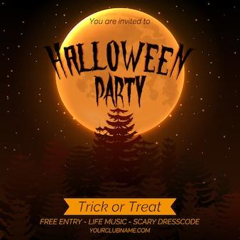 Plantilla de cartel de invitación de fiesta de halloween con bosque oscuro, luna llena y lugar para el texto.