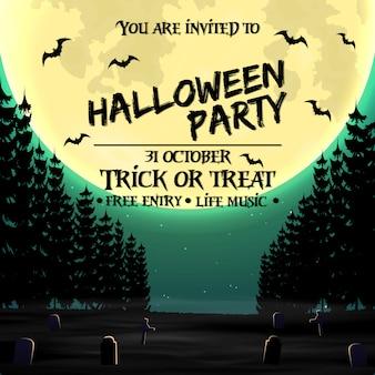 Plantilla de cartel de invitación de fiesta de halloween con bosque oscuro