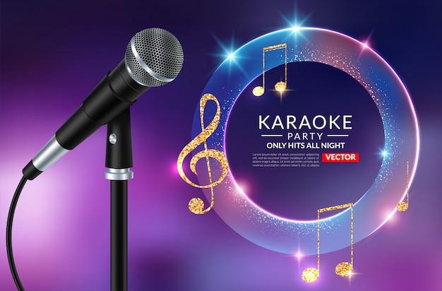 Plantilla de cartel de invitación de fiesta de karaoke, folleto de noche de karaoke