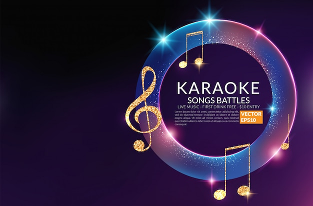 Plantilla de cartel de invitación de fiesta de karaoke. volante nocturno de karaoke. concierto de voz de música.
